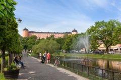 Schwanteich von Uppsala Stockfoto