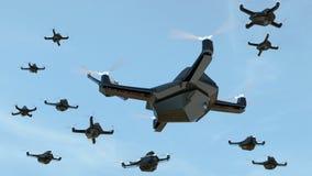 Schwarm von Sicherheitsbrummen mit Überwachungskamerafliegen im Himmel lizenzfreie abbildung