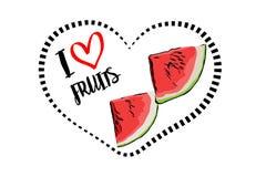 Schwarz-Herzform der punktierten Linie mit der Karikatur gezeichnet zwei dreieckigen Stücken der frischen Wassermelone innerhalb  lizenzfreie abbildung