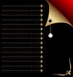 schwarz-rotes Papier mit Goldecke und -kristall Stockfotos