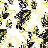 Schwarz-und-grünes mit Blumennahtloses Lizenzfreies Stockfoto