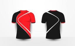 Schwarz und rot mit weißen Linien tragen Sie Fußballausrüstungen, Trikot, T-Shirt Designschablone zur Schau Lizenzfreie Stockfotografie