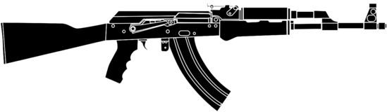 Schwarz- Vektor-Illustration Rusian-Angriff Riffle AK47 lizenzfreie abbildung