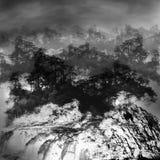 Schwarz-weiße unbedeutende Skizze des Waldes und des Wasserfalls lizenzfreies stockfoto