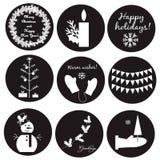 Schwarz-weiße Weihnachtsaufkleber Stockfotografie