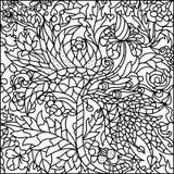 Schwarz-weißes Buntglasfenster, Blumen Stockfotos