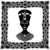Schwarz- weißes Schattenbild Pharao Nefertiti oder Kleopatra in einem fra Stockfoto