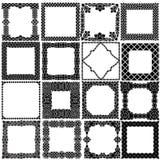 Schwarz- Weißsatz von sechzehn Rahmen in keltischem, arabischem, indischem St. Lizenzfreies Stockbild