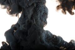 Schwarze Acrylfarbe im Wasser auf weißem Hintergrund Lizenzfreies Stockfoto