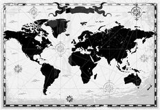 Schwarze alte Weltkarte Lizenzfreie Stockfotos