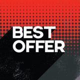 Schwarze Angebotverkaufsplakat-Fahnenschablone Freitags beste mit Retro- Typografietext des langen Schattens und Tupfenhintergrun Lizenzfreies Stockbild