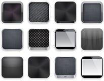Schwarze APP-Ikonen. stock abbildung