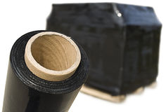 Schwarze Ausdehnungs-FIM und Pappschachtelpalette Stockbild
