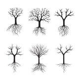 Schwarze Bäume ohne Blätter Auch im corel abgehobenen Betrag Stockbilder