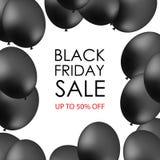 Schwarze Ballone auf weißem Hintergrund mit Aufschrift für promotio Stockfoto
