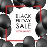 Schwarze Ballone auf weißem Hintergrund mit Aufschrift für promotio Stockbilder