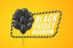 Schwarze Ballone in einem gelben Rahmen mit schwarzen Linien Zeichen der Vorsicht Fahne 3D für Verkauf Black Friday auf einem gel Stockbilder