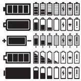 Schwarze Batterieikonen des Vektors Lizenzfreie Stockfotografie