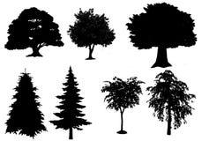 Schwarze Baumschattenbilder auf weißem Hintergrund, Schattenbild von Bäumen Lizenzfreies Stockfoto