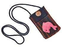 Schwarze Baumwollgeldtasche mit Brücke stockfotografie