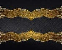 Schwarze Beschaffenheit mit Goldverzierungen Element für Entwurf Schablone für Entwurf kopieren Sie Raum für Anzeigenbroschüre od Lizenzfreies Stockfoto