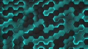 Schwarze Beschaffenheiten des Hexagons mit Blaulicht 3d übertragen Stockfotografie