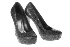 Schwarze beschmutzte lederne Schuhe der Frauen Lizenzfreie Stockbilder