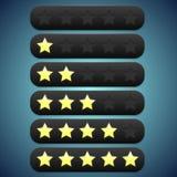 Schwarze Bewertung der Symbolleiste, Sterne vertieft für sie Stockfotos