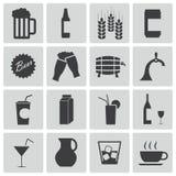 Schwarze Bier- und Getränkeikonen des Vektors Lizenzfreie Stockfotografie