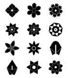 Schwarze Blumenikonen Stockfoto