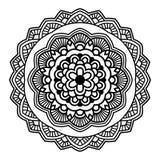 Schwarze Blumenmandala Stockfoto