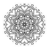 Schwarze Blumenmandala mit Herzen Stockbild