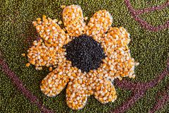 Schwarze Bohnen, grüne Bohnen, Mais Stockfoto