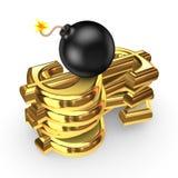 Schwarze Bombe und Symbole des Dollars. Stockfotos
