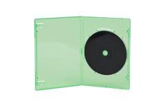 Schwarze CD im grünen Kasten mit lokalisiertem weißem Hintergrund Stockfoto