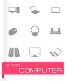 Schwarze Computerikonen des Vektors eingestellt Lizenzfreie Stockbilder