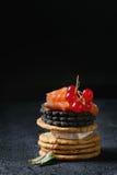 Schwarze Cracker mit Lachsen und Beeren Lizenzfreies Stockfoto