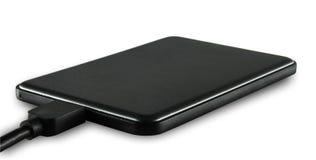 Schwarze dünne externe Festplatte Stockfotos