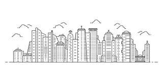 Schwarze d?nne Linie Stadtbild mit Wolkenkratzern vektor abbildung