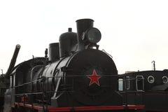 Schwarze Dampflokomotive mit einem roten Stern Nahaufnahme Lizenzfreies Stockbild