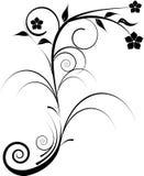 Schwarze dekorative Blumen I stock abbildung