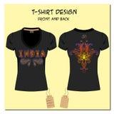 Schwarze Design T-Shirts mit einer Bildpaisley-Verzierung Lizenzfreies Stockfoto