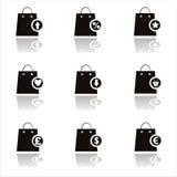 Schwarze Einkaufenbeutelikonen vektor abbildung