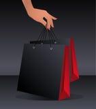Schwarze Einkaufstascheschablone Lizenzfreie Stockbilder