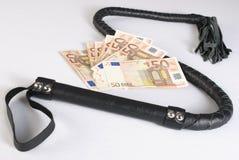 Schwarze einzelne Heckpeitsche und -geld Lizenzfreies Stockbild