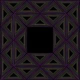 Schwarze ethnische Rahmenverzierung mit farbigen Dreiecken Stockbild