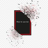 Schwarze Fahne mit rotem Rahmen mit den Fragmenten lokalisiert auf dem Hintergrund Abstrakte schwarze Explosion mit Teilchen Vekt lizenzfreie abbildung