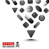 Schwarze Farbe der Droge stellt ein gefährliches und ein giftig dar vektor abbildung