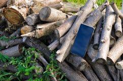 Schwarze Farbe des Handys sitzt auf einem Stapel von geschnittenen Niederlassungen im Freien stockfotografie