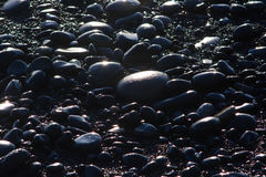 Schwarze Felsen glitzern in der untergehenden Sonne an Rialto-Strand, Washington, US Stockfoto